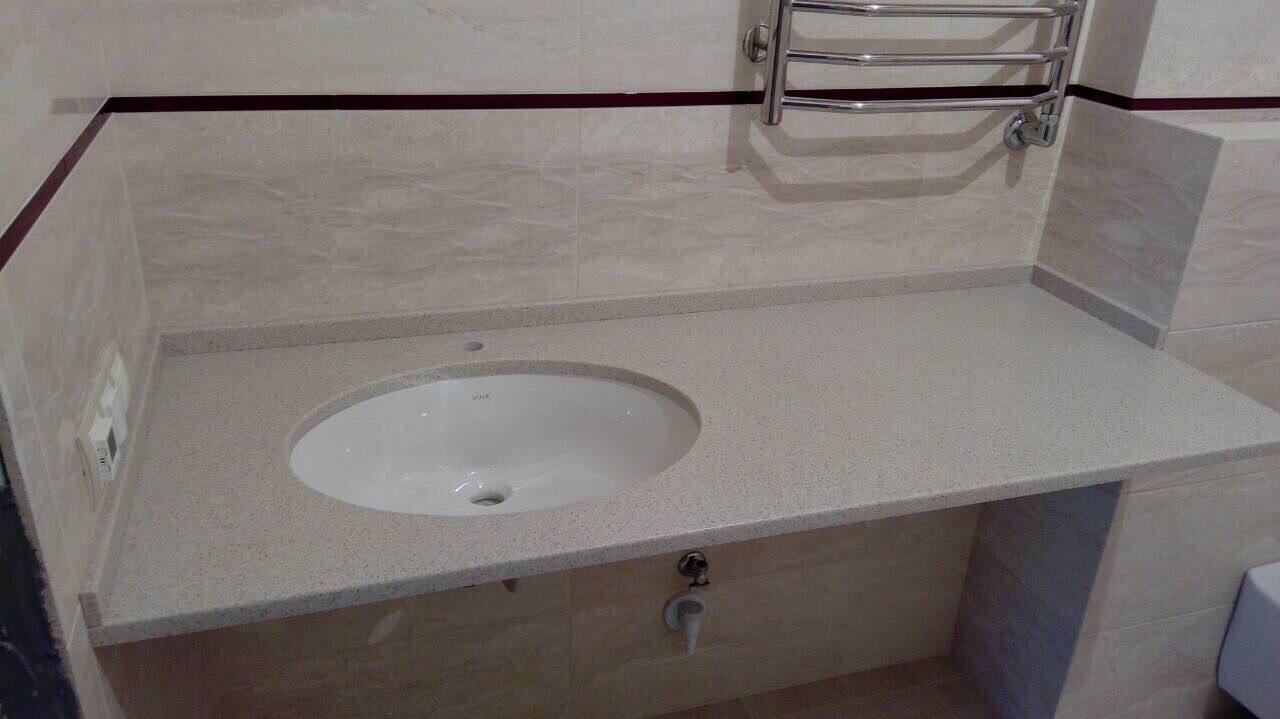 Столешница в ванную с интегрированной раковиной